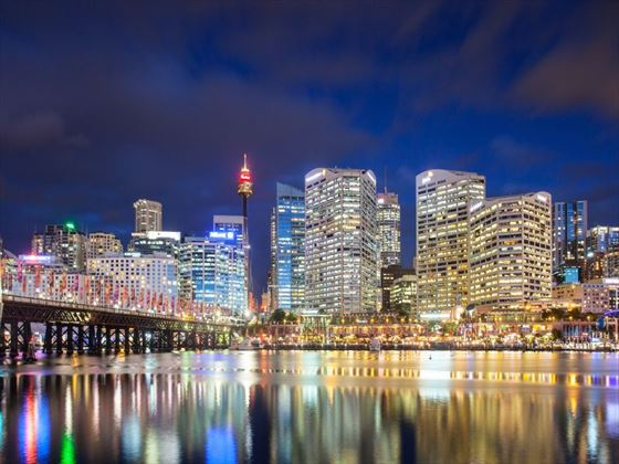 Sydney skyline at Pyrmont Bridge