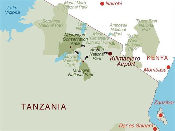Tanzania Under Canvas Map