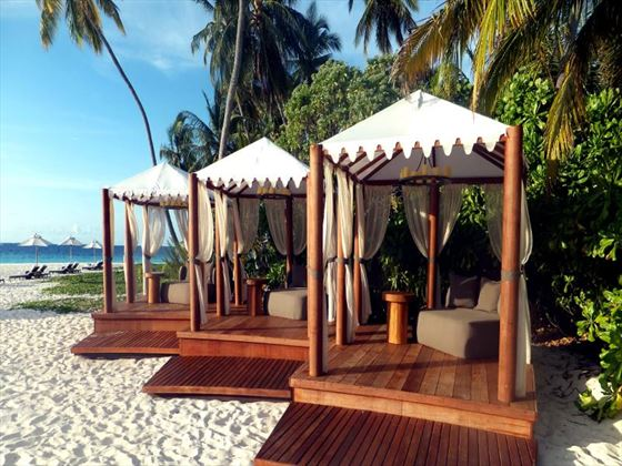 The Bar's beach cabanas at Park Hyatt Hadahaa Resort