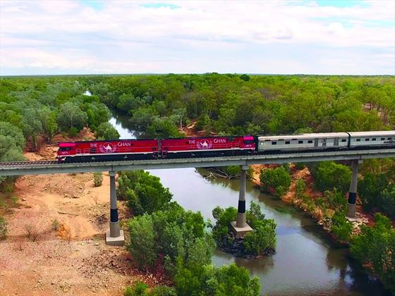 The Ghan heading south crossing the Katherine River