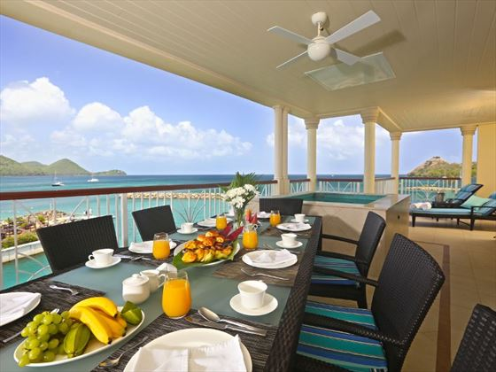 Ocean View Suite balcony with Jacuzzi