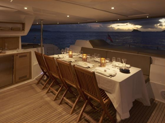 Dining on board the Sanya 57