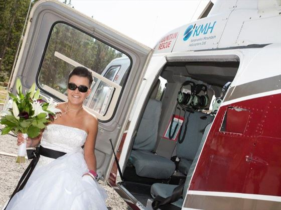 Bride and her helicopter