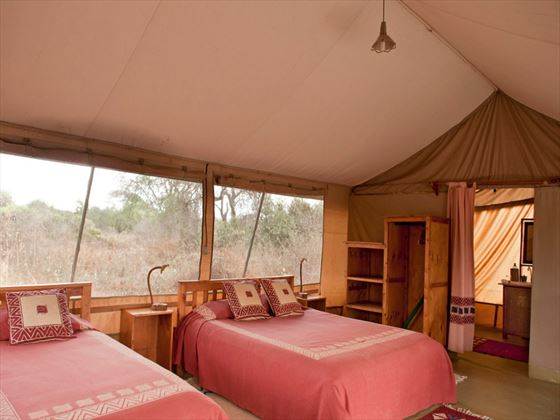 Twin beds at Amboseli Porini