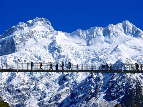 Walking through Mt Cook National Park