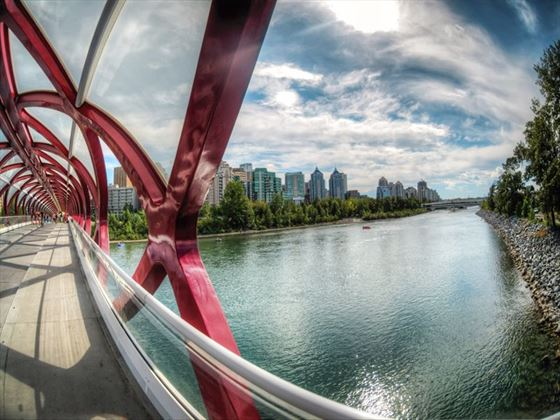 Walking across the pedestrian Peace Bridge in Calgary