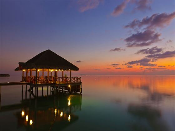 Water cafe at sunset