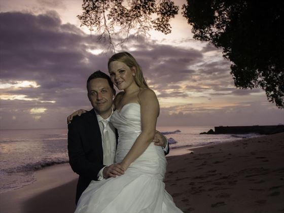 The happy couple at Waves Hotel & Spa