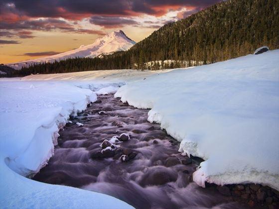 Winter sunrise surrounding Mt Hood