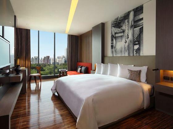 Sofitel So Bangkok Wood element bedroom