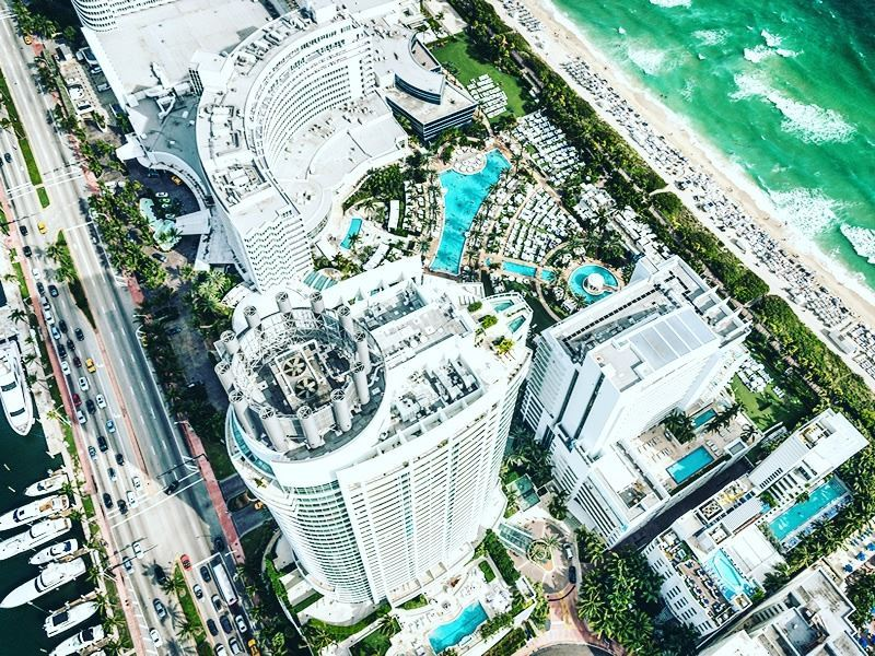 aerial view of fort lauderdale beach hotels and waterway