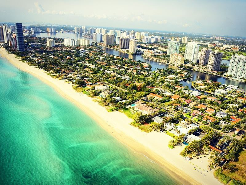 aerial view of south beach miami