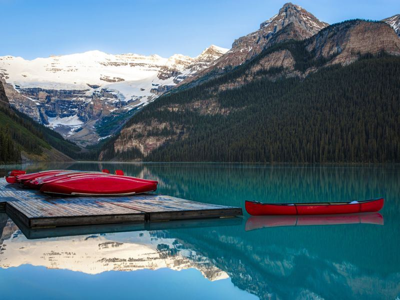 canoes on lake louise alberta