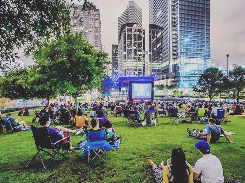 catching a movie at discovery green texas