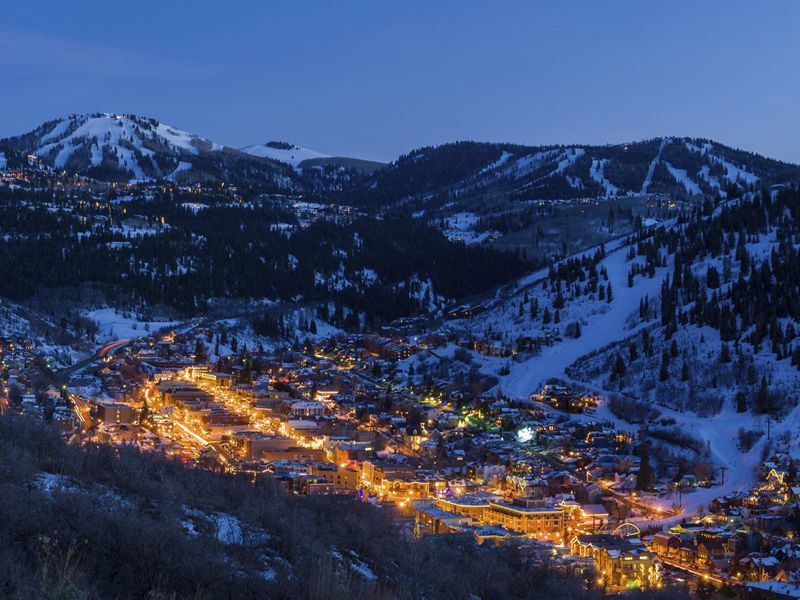 dusk view of park city utah
