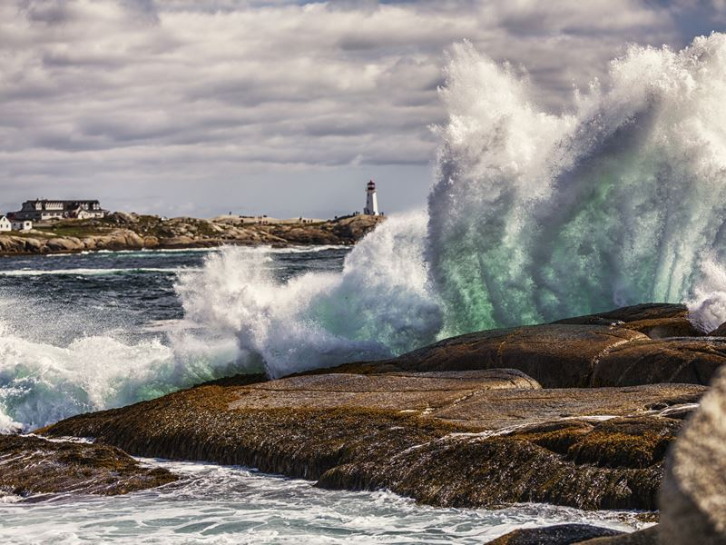 heavy surf at peggys cove nova scotia