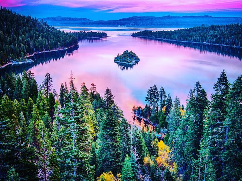 high angle view of lake tahoe california