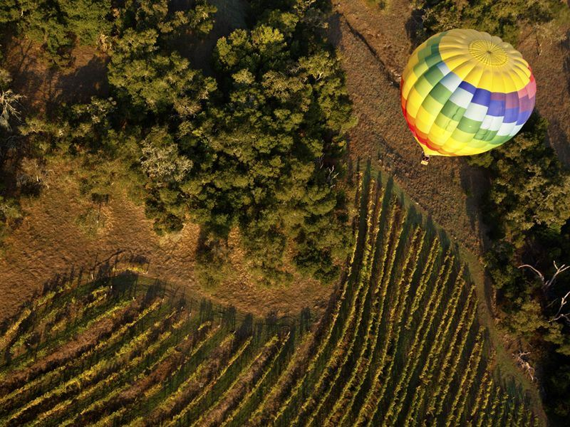 hot air balloon flying over californias napa valley