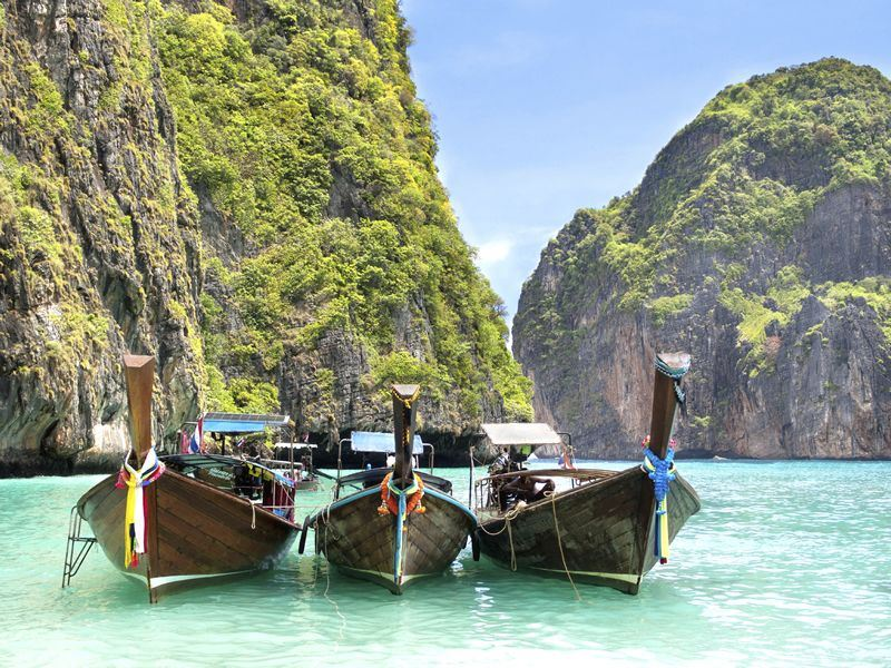 longtail boats in maya bay koh phi phi