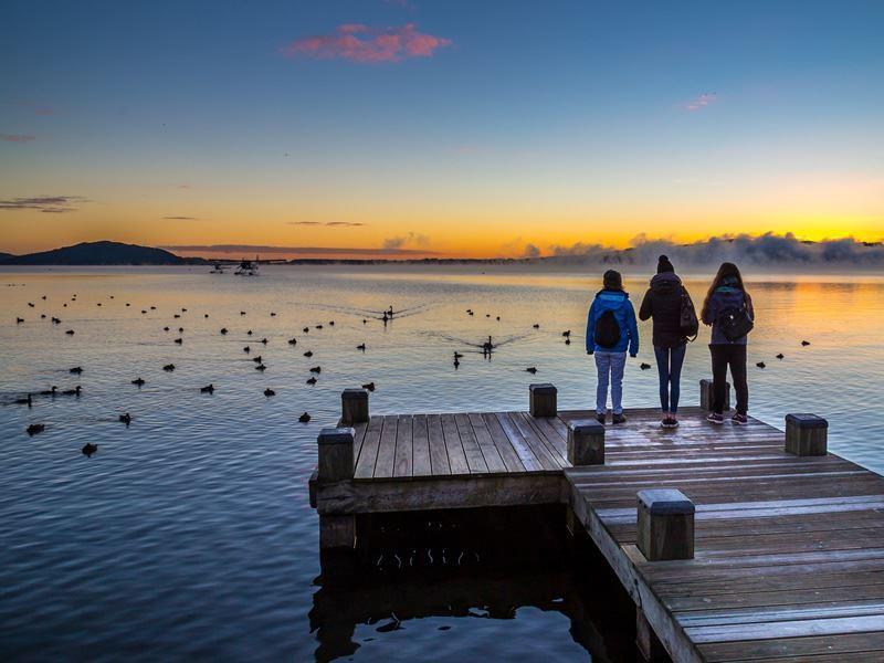 looking towards mokoia island lake rotorua
