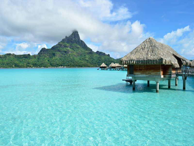 overwater bungalows in bora bora french polynesia
