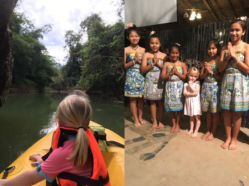 paddling the river and meeting the local children in khao sok
