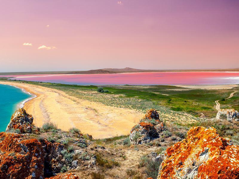 pink lake sunset hutt lagoon western territory