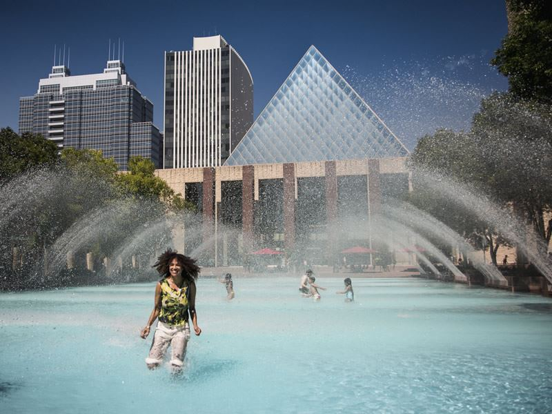 playing in a fountain edmonton