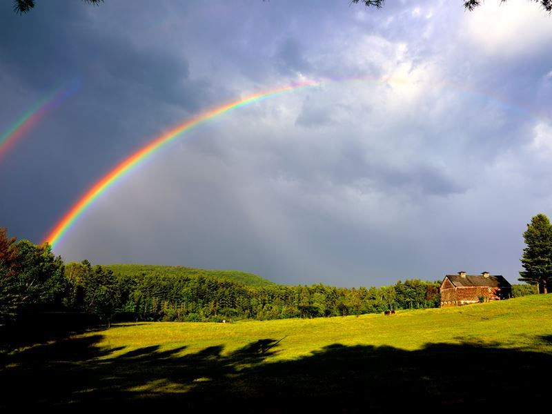 rainbow over stockbridge countryside massachusetts
