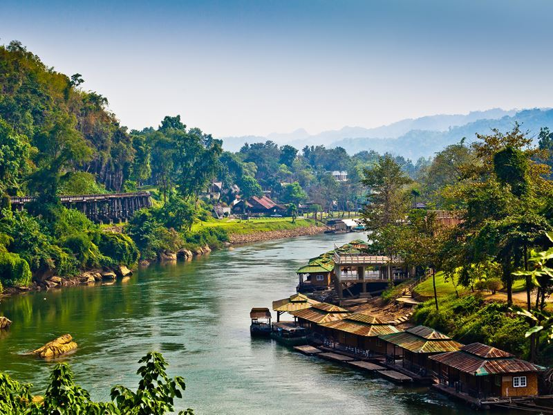 river kwai and wooden rail bridge kanchanuburi