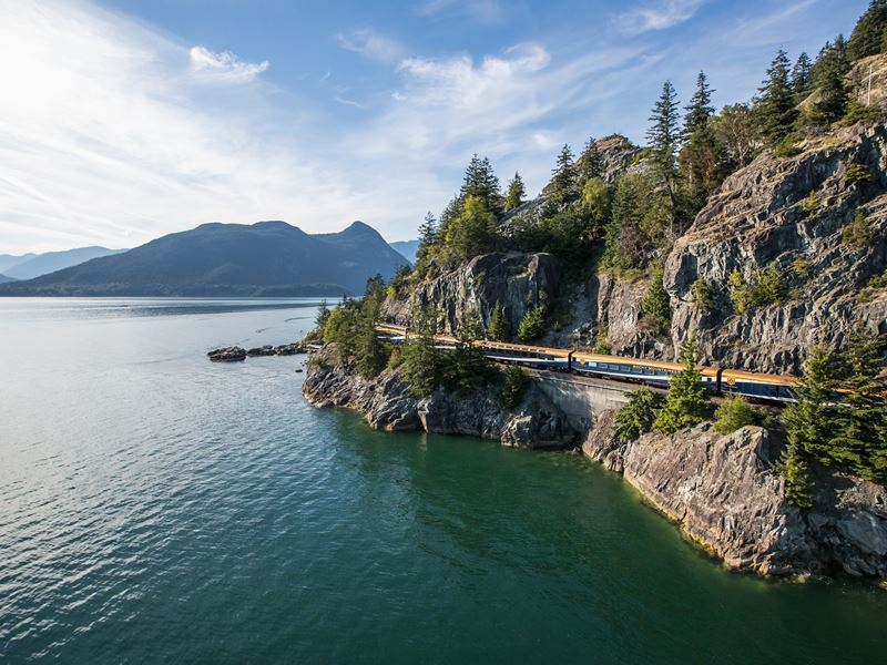 rocky mountaineer travelling along the sea to sky corridor on the rainforest to gold rush route