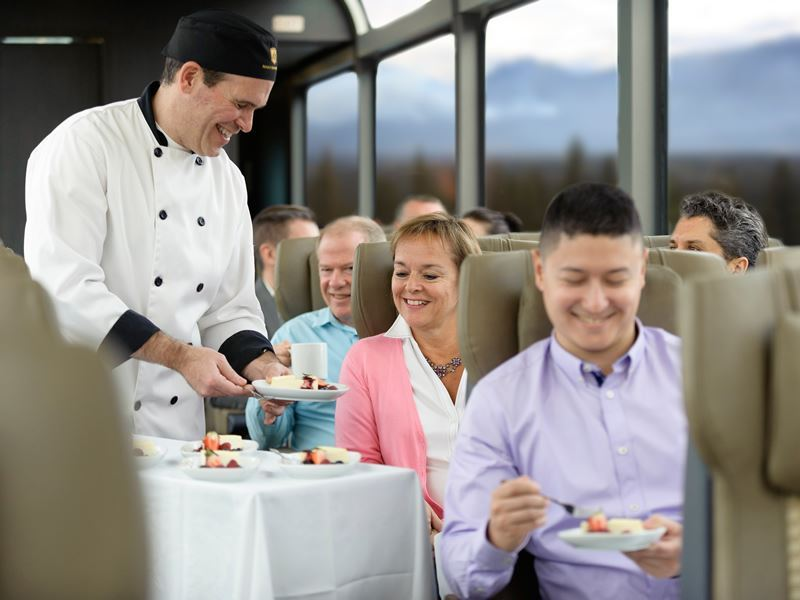 serving fruit salad breakfast aboard the rocky mountaineer