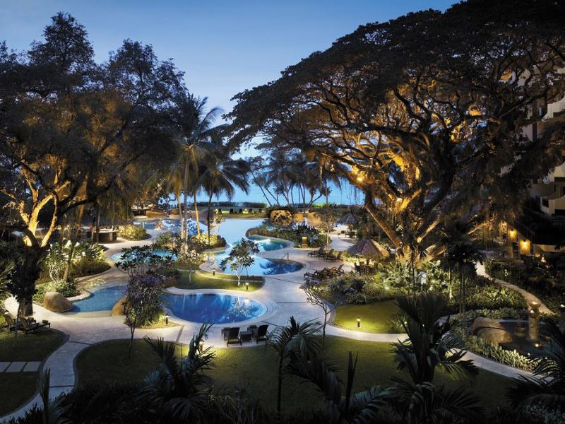 shangri las rasa sayang resort  spa main pool at night