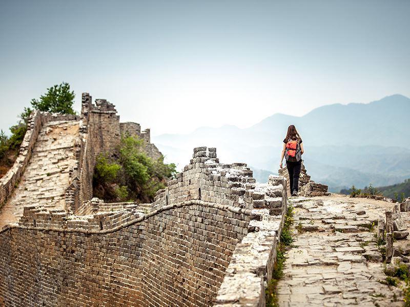 single woman great wall of china