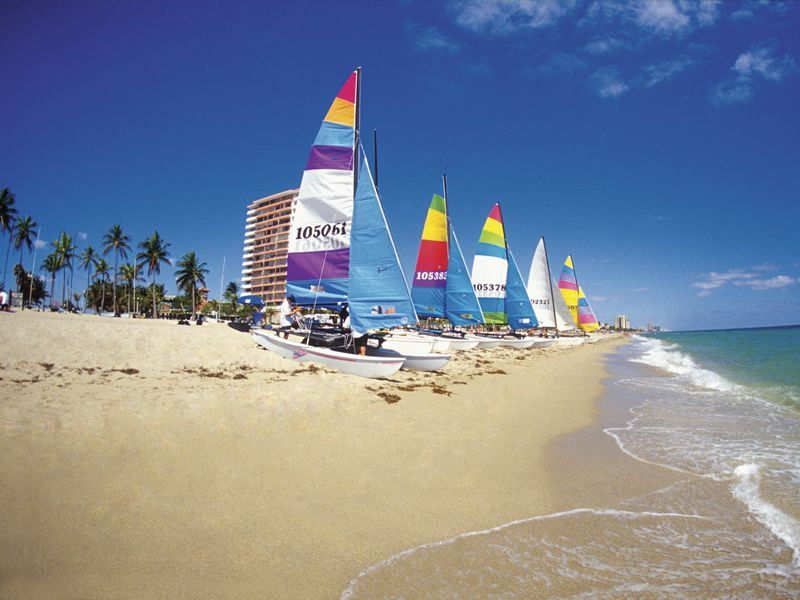 Small sailboats on the beach in Fort Lauderdale