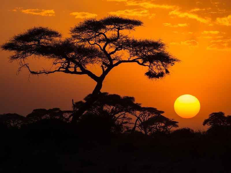 sunset at amboseli national park