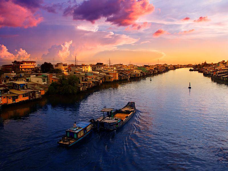 sunset on the mekong delta