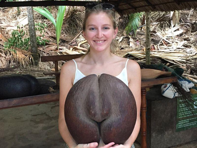taggie holding a coco de mer