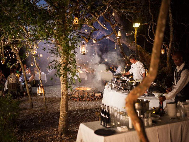 traditional braai in the boma at grootbos private nature reserve
