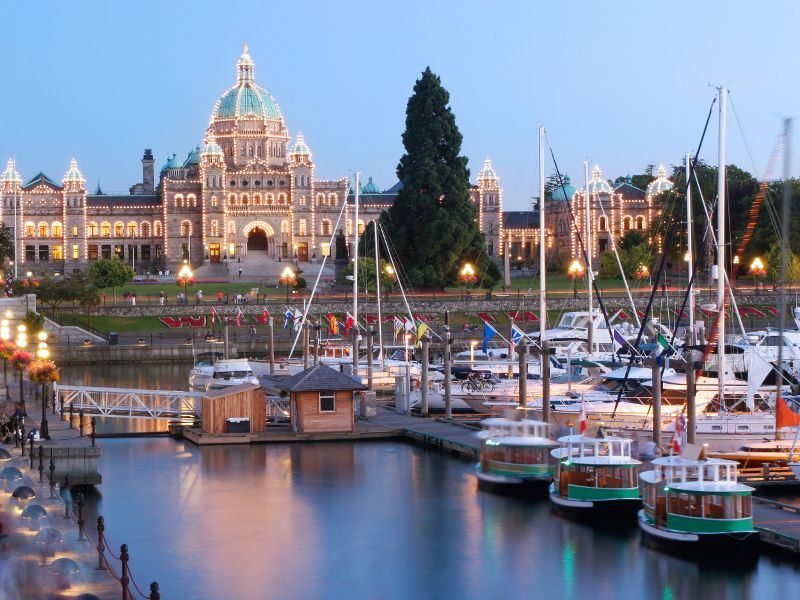 victoria inner harbour at dusk