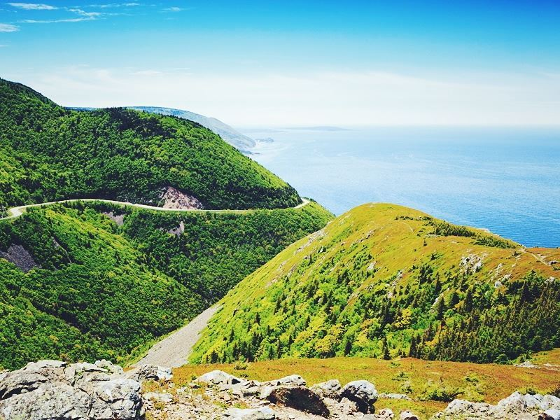 view from the skyline hike trail in the cape breton highlands national park nova scotia