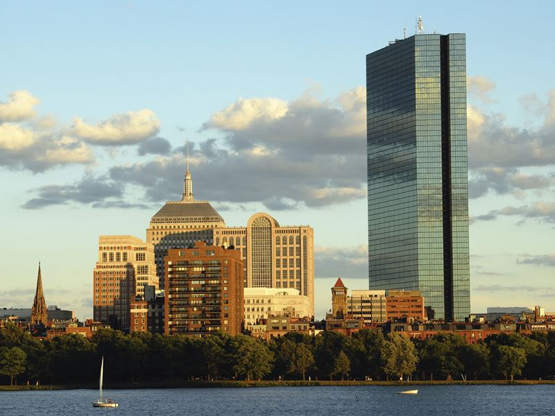 view of boston back bay and john hancock tower