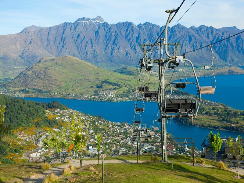 view of queenstown from the skyline gondola