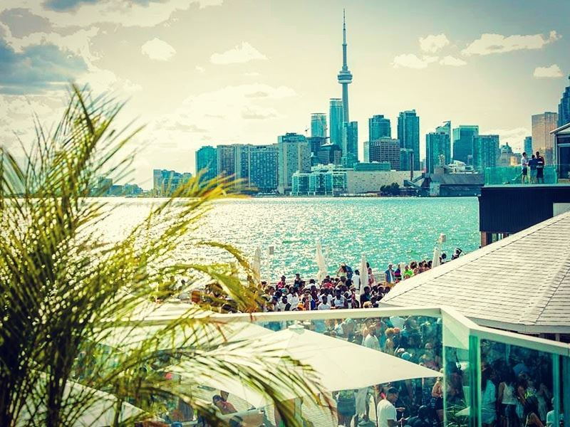 view of toronto skyline from cabana pool bar