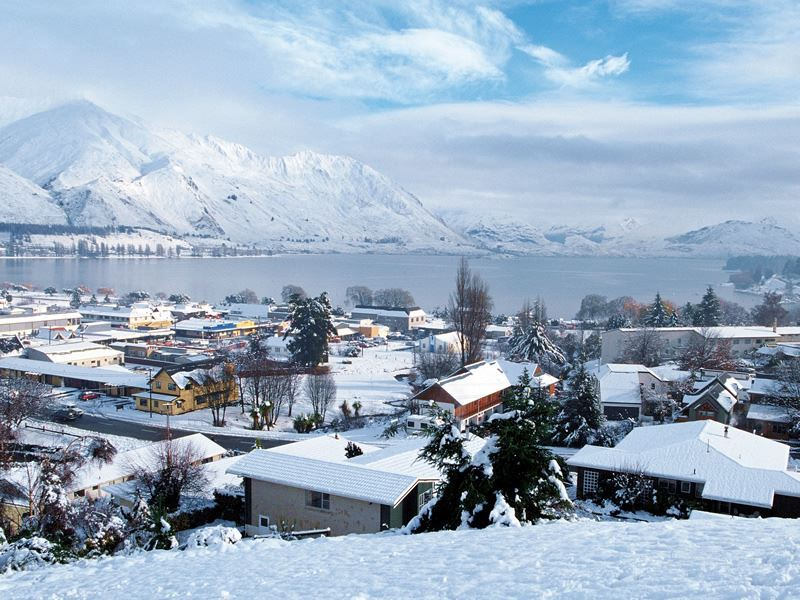 wanaka town and lake wanaka in snow s island new zealand