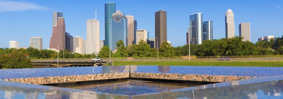 Houston skyline and memorial