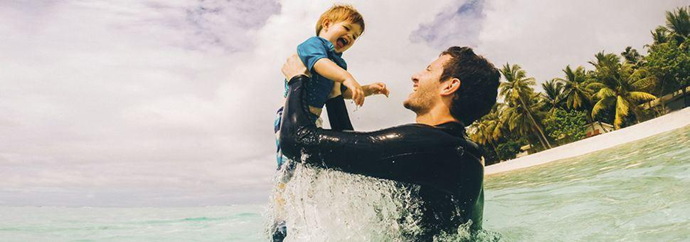 Family beach fun in the Maldives